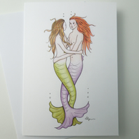 Undersea Sweethearts mermaid valentine greeting card with envelope