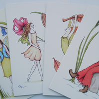 Four Seasons Fairies 4 pack fine art greeting cards with envelopes