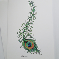Peacock Feather greeting card with envelope