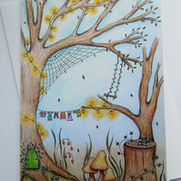 Faerie Dell fine art greeting card with envelope