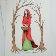 Red Riding Hood fine art greeting card with envelope