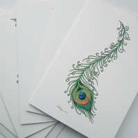 Peacock Feather 5 pack fine art greeting cards with envelopes
