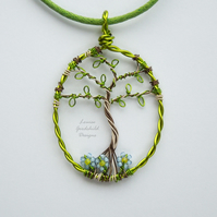 Silver Birch tree of life pendant necklace, unique wearable wire art