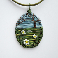 Daisy Meadow wire flower tree scene necklace, unique wearable wire art