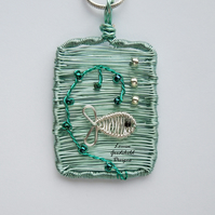 Silver Fish wire ocean scene necklace, unique wearable wire seaside art