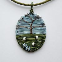 Sheep Beneath the Oak wire sheep and tree necklace, unique wearable wire art