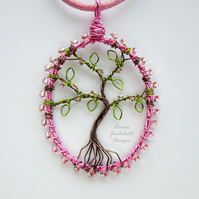 Cherry Blossom tree of life pendant necklace, unique wearable wire art