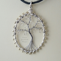 Silver on the Tree tree of life pendant necklace, unique wearable wire art