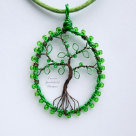 Emerald green tree of life pendant necklace, unique wearable wire art