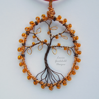 Tangerine tree of life pendant necklace, unique wearable wire art