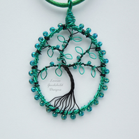 Teal tree of life pendant necklace, unique wearable wire art