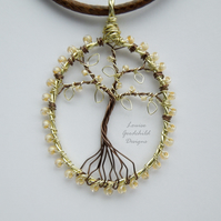Vanilla tree of life pendant necklace, unique wearable wire art