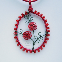Red Valentine Rose handmade wire pendant necklace, unique wearable wire art