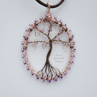 Rose Gold and lilac tree of life pendant necklace, unique wearable wire art