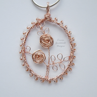 Rose gold Valentine Rose handmade wire pendant, unique wearable wire art