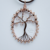 Rose Gold tree of life pendant necklace, unique wearable wire art
