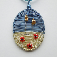 Cornfield wheat and poppy wire necklace, unique wearable wire art