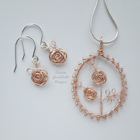 Rose Gold and silver pendant necklace and earrings set, unique wearable wire art