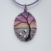Twilight Grazing sunset sheep wire necklace, unique wearable wire art