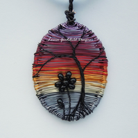 Sunset Silhouette wire necklace, unique wearable wire art