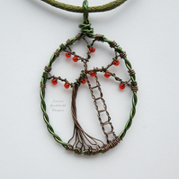 Apple Picking tree pendant necklace, unique wearable wire art
