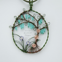 Fairy Dell wire wrapped pendant, ooak wire pendant, tree with flowers, necklace