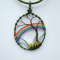 Rainbow pendant, nature inspired, wire tree necklace, rainbow, MADE TO ORDER