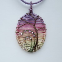 Sunset pendant, wire wrapped, wire tree pendant, pink, nature, MADE TO ORDER