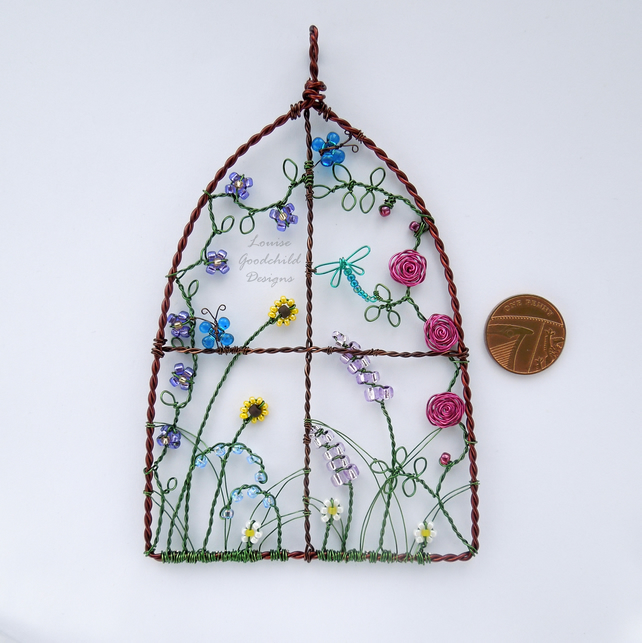 Cottage garden suncatcher, wire hanging ornament, flowers, garden lovers gift