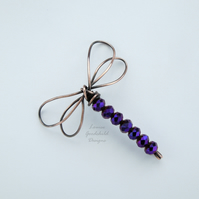 Purple dragonfly brooch, solid copper, dragonfly jewellery, copper wire pin