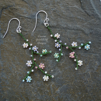 Pastel rainbow flower earrings, blossom earrings, sterling silver, wire wrapped