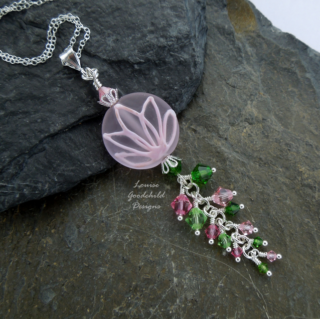 Water lily necklace, pink lotus flower necklace, waterfall, crystals, waterlily