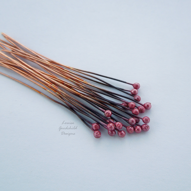 Cranberry ball headpins, red copper head pins x 20, make your own, copper wire