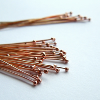 Solid copper headpins, ball head pins x 20, make your own, copper wire, shiny