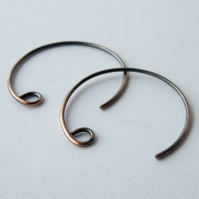 Round ear wires, antique copper, handmade findings, make your own, 5 pairs