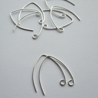 Sterling silver angled ear wires, 3 pairs, wishbone earwires, make your own