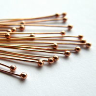 Solid bronze headpins, ball head pins x 20, make your own, bronze wire, shiny