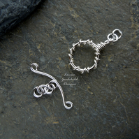 Handmade sterling silver wire vine toggle clasp, made to order, make your own