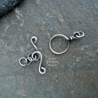Handmade antique sterling silver wire toggle clasp, made to order, make your own