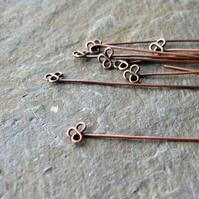 Antique copper trefoil headpins x 10, make your own, copper wire, clover leaf