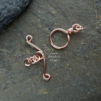 Handmade copper wire toggle clasp, made to order, make your own, jewellery