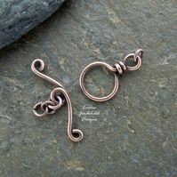 Antique copper wire toggle clasp, made to order, make your own, handmade