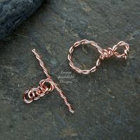 Handmade copper wire toggle clasp, twisted, made to order, make your own