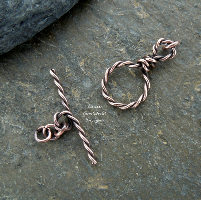Handmade antique copper wire toggle clasp, twisted, made to order, make your own