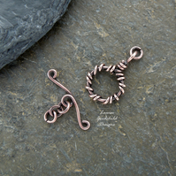 Handmade antique copper wire vine toggle clasp, made to order, make your own
