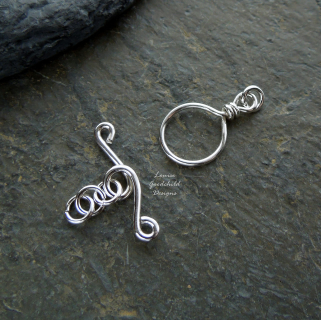 Handmade sterling silver wire toggle clasp, made to order, make your own