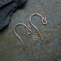 Handmade solid copper swan ear wires, findings, earwires, 5 pairs, make your own