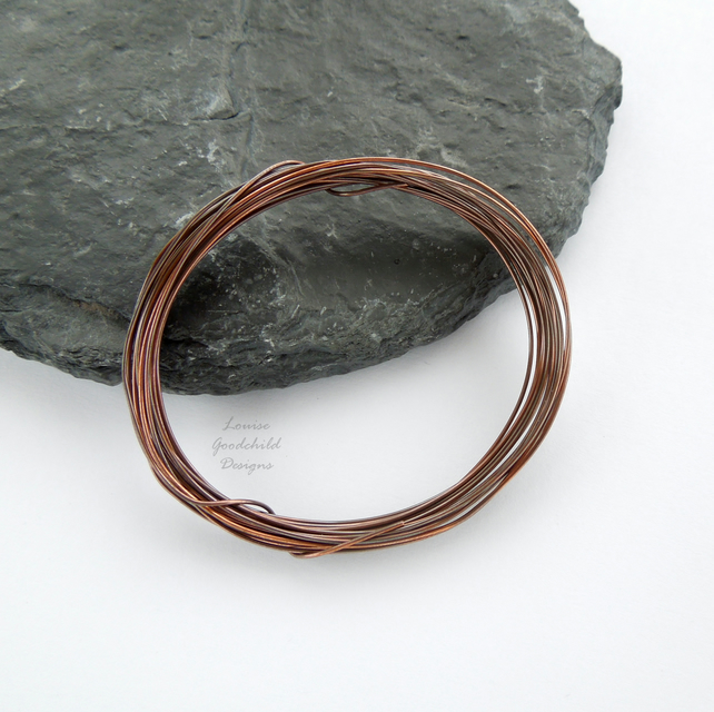 Antique copper wire, hand patinated, 0.6mm oxidised wire jewellery crafts