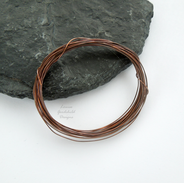 Antique copper wire, hand patinated, 0.5mm oxidised wire jewellery crafts