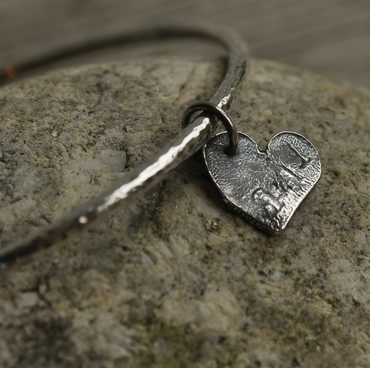 Sterling silver hammered bangle with reticulated heart charm, hand forged, uniqu